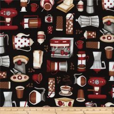 Timeless Treasures Coffee Motifs Black from @fabricdotcom From Timeless Treasures, this cotton print fabric is perfect for quilting, apparel and home decor accents. Colors include black, white, grey, brown, tan and red.