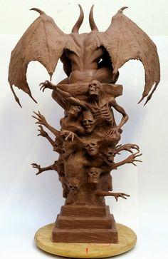 Michael White Sculpting & Props: January 2015 Fantasy Wizard, Fantasy Demon, Fantasy Art, Gargoyle Drawing, Gargoyle Tattoo, Angel Sculpture, Sculpture Clay, Art Sinistre, Gothic Gargoyles