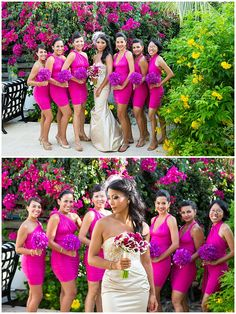 Fuchsia Pink and Purple Bridesmaids dresses at Villa del Sol, Turks & Caicos | Brilliant By Tropical Imaging