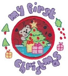 My First Christmas Applique - 2 Sizes!   Baby   Machine Embroidery Designs   SWAKembroidery.com Bunnycup Embroidery