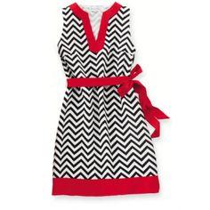 Red and Black Chevron Print Sleeveless Game Day Dress