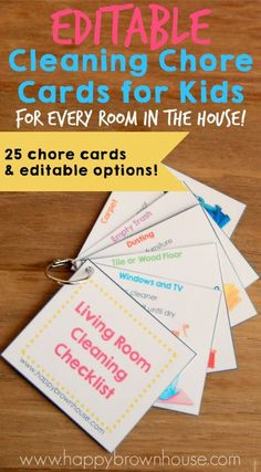 These Cleaning Chore Cards for Kids include everything needed to clean the home with your child's help. Simply print, laminate, and place on a ring for flippable chore task cards. Organize your child's chores with step-by-step task cards and lower mom's n Printable Chore Cards, Printables, Free Printable, Kids And Parenting, Parenting Hacks, Chore Chart Kids, Chore Charts, Chore System, Chore List