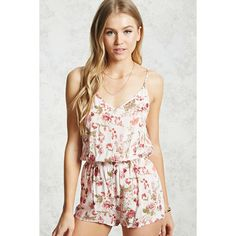Forever21 Floral Cami Romper (€11) ❤ liked on Polyvore featuring jumpsuits, rompers, playsuit romper, forever 21 rompers, white v neck cami, forever 21 romper and floral rompers
