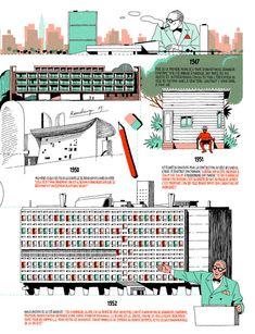 Infografía de la vida de Le Corbusier por Vincent Mahé,Cortesía de Vincent Mahé