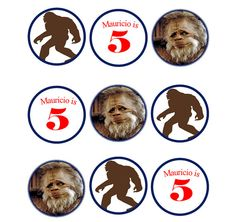 """PRINTABLE CUSTOMIZED Harry Henderson Bigfoot Cupcake topper tags, Favor tags 2"""" round on Etsy, $3.50 Bigfoot party"""