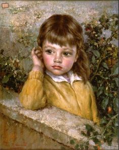 """Young Girl at the Wall"" Italian painter Luigi Amato (1898 - 1961)"