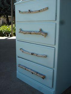 Awesome old dresser revamp w/ birch branch pulls.