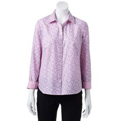 Croft & Barrow® Printed Oxford Shirt - Petite