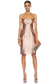 JONATHAN SIMKHAI|Fitted Metallic Acrylic-Blend Bustier Dress in Rose [1]