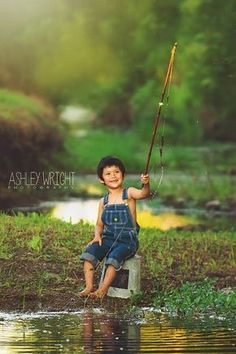 Ashley Wright Photography | Studio located in Bonham Texas | All Boy Mini Session | Fishing little boy creek sunflare