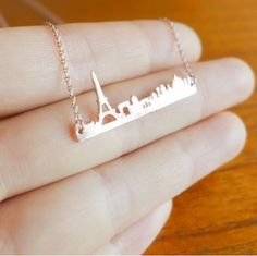Paris City Skyline Necklace with Eiffel Tower - Rose Gold  Gold & Silver - Pray for Paris - Rosa Vila Jewelry  - 1