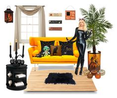 """halloween"" by ellyandeddy-mendo ❤ liked on Polyvore featuring interior, interiors, interior design, home, home decor, interior decorating, Liz Claiborne, Suki Cheema, Dot & Bo and Nearly Natural"