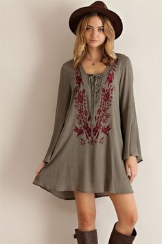 Floral Embroidery Shift Dress - Olive - Knitted Belle Boutique  - 1