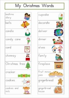 "Christmas Vocabulary Word Wall Words. Includes a personal word wall for students, a file-folder word wall for the writing or word work center and large cards for the classroom wall in color and black and white. Also has several word wall worksheets. The large cards would be great from a ""Write the Room"" activity too!"