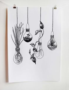 Light bulb Terrariums 'Growing Ideas' ⎜Botanical Print⎜Kitchen Wall Black and White Screen Print ⎜Limited Edition Print Sketchbook Drawings, Art Drawings Sketches Simple, Pencil Art Drawings, Easy Drawings, Tattoo Sketches, Tattoo Drawings, Drawing Ideas, Doodle Art Drawing, Painting & Drawing