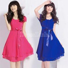 New Fashion Women's Girl Short Sleeve Dress Chiffon Dress 4 Colors