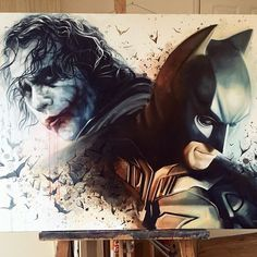 'The Clown and the Bat' FINISHED! Please message me if your interested! #joker #batmanarkhamknight #batman #darkknight #proartist #instaartist #painting #comicart #studio #art #illustration #drawing #draw #picture #artist #sketch #sketchbook #paper #pen #pencil #artsy #beautiful #instagood #gallery #creative #photooftheday #graphic #graphics #artoftheday