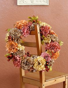 Gorgeous Fall Wreath - Thanksgiving Wreath - Handmade coffee filter flowers in subtle fall colors with berries