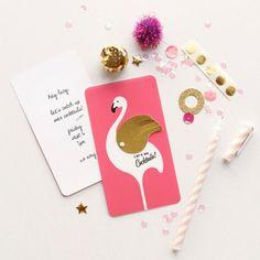 Let's go to the Party ! Carton d'invitation décoré d'un flamant rose / Invitation card decorated with a pink flamingo