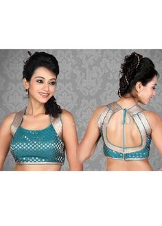 Blue Brocade Saree Blouse