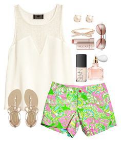 """Lilly Shorts"" by heyitsak ❤ liked on Polyvore featuring H&M, Lilly Pulitzer, NYLO, Guerlain, Fresh and Kate Spade"