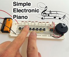 Electronics can make sounds very easily with just a handful of parts. Here's how to make a simple piano using a 555 timer. I designed and tested this circuit using. Electronics Projects, Simple Electronics, Electronics Basics, Electronic Circuit Projects, Kids Electronics, Electrical Projects, Electronic Engineering, Electrical Engineering, Gadgets Électroniques