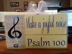 Psalm 100 primitive wood block set Make a joyful noise music lovers decor music teacher piano player music paper on Etsy, $18.95