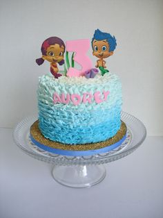 Bubble Guppies buttercream ruffle cake OMG LOVE THIS! (Use real figurines NOT fondant!)