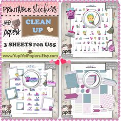 Clean Up Stickers, Planner Stickers, Cleanup Stickers, Printable Stickers, Planner Accessories, Erin Condren, Printable Planner Stickers