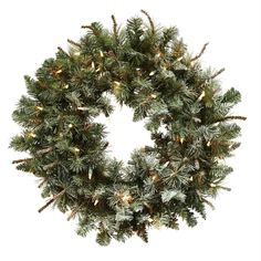 Lighted frosted pine wreath green 30 outdoor wreaths pine 30in lighted frosted pine wreath aloadofball Image collections