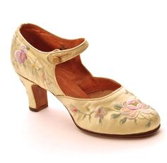 FC0076, Shoe, one of pair in embroidered yellow satin with leather lining. Made in China (probably Shanghai) for export, late 1920s