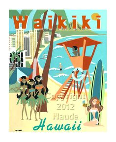 Hawaii Waikiki Beach Painting in Retro Mid Century Modern Style Surfer Hula Girls Art Print