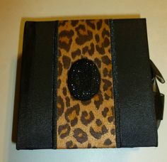 MEMO PAD CUBE BLACK & TAN LEOPARD WITH VELVET BLACK GEM EMBELLISHED COVER