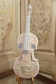 Embellished Violin, altered violin, rhinestone and pearl violin, Mediterranea Design Studio, altered art, vintage violin, decorated violin