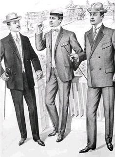 L'abbigliamento consisteva in una giacca nè lunga nè corta a due o tre bottoni con maniche ampie che lasciavano intravedere il polsino della camicia. La camicia da giorno il davanti liscio o a pieghe con colletto e polsini intercambiabili.I pantaloni erano larghi alle ginocchia e stretti sul fondo, con o senza risvolti. L'abbigliamento maschile era inspirato al principe del Galles (Edoardo VIII).