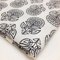 Floral Print Cotton Fabric - Black and White Cotton Fabric - Block Print Cotton by Yard for Dresses, Upholstery