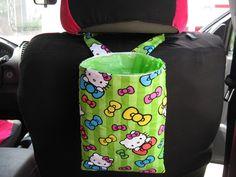 SALE PRICE - Green Hello Kitty and Bows Hanging Car Trash Bag Tote Bag Car Organizer