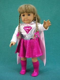 SUPERGIRL OUTFIT FOR AN AMERICAN GIRL DOLL, PRETTY IN PINK