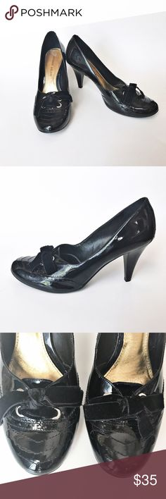 """Antonio Melani Black Oxford Heels Beautiful Antonio Melani Black Patent Leather Oxford Style Heels. Feature oxford style detail along the heel and front of the shoe and velvet ribbon laces. Approximate heel height: 3.5"""". Some scuffing on heels. 👗👛👠👙👕Bundle & Save! ANTONIO MELANI Shoes Heels"""