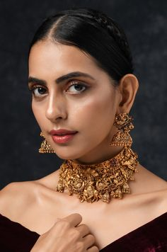 Gold Plated South Indian Lakshmi Temple Jewelry Necklace Set/ Gold plated Temple work Choker and Jhumka Earrings Set - narsing guduru - internationally inspired Bridal Jewelry, Gold Jewelry, Jewelry Necklaces, Jewellery Earrings, Diamond Jewellery, Saree Jewellery, Ear Jewelry, Jewelry Box, Necklace Set