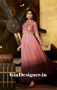 Shilpa Shetty Pink Reshem Work charming Anarkali Bollywod Replica Suit