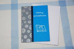 Einladung Kommunion / Konfirmation Bibel blau von Cardlove.de auf DaWanda.com