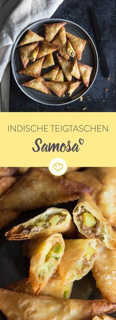 Samosa - the Indian classic with 2 delicious Samosa – der indische Klassiker mit 2 leckeren Füllungen These filled dumplings are absolute highlights of Indian cuisine. They are now available with a wide variety of fillings. Indian Food Recipes, Asian Recipes, Vegetarian Recipes, Pizza Recipes, Indian Snacks, Vegan Snacks, Healthy Snacks, Yummy Food, Tasty
