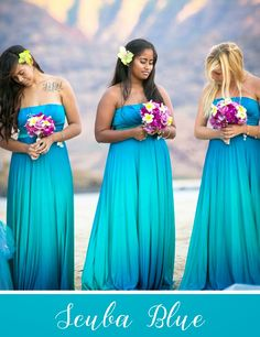 """scuba blue bridesmaid dresses. Side note: i have a """"sisters"""" tattoo in the same place as the first woman, and she proves  you can look elegant with visible tattoos, despite what my mom thinks."""