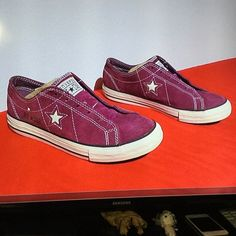 CONVERSE ONE STAR purple suede OX . W7.5 / eu38 AS Minimal wear .. No noticeable issues Converse Shoes Athletic Shoes