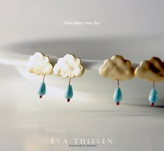 One Sunny Rainy Day set of whimsical earstuds and necklace.