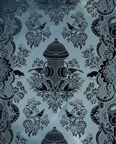"""""""City Park"""" wallpaper designed by Dan Funderburgh. Traditional damask pattern mashed w/ city elements: fire hydrants, rats. @ flavorpaper.com"""