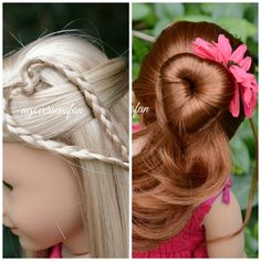 awesome American Girl Doll Hairstyles ~Inspired by Cutegirlshairstyles~. Ag Doll Hairstyles, American Girl Hairstyles, Cute Girls Hairstyles, Heart Hairstyles, My American Girl Doll, American Girl Crafts, Ariana Grande, Ag Hair Products, For Elise