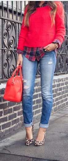 Song of Style/ Red Sweater & Plaid Shirt leopard print shoes Fall Winter Outfits, Autumn Winter Fashion, Plaid And Leopard, Outfit Chic, Casual Outfits, Cute Outfits, Work Outfits, Top Street Style, Casual Chic Outfits