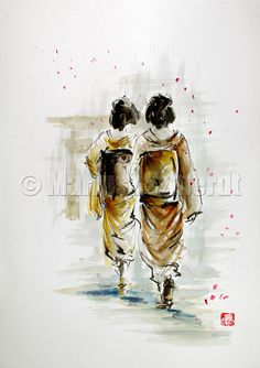 ASIA SZMERDT   Japanese girls GEISHA wearing traditional kimono and shoes watercolor painting